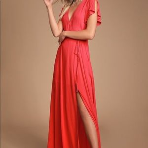 NWT Lulus Heart of Marigold Coral Red Wrap Maxi